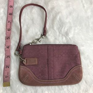 Canvas and Suede Coach Purple Wristlet